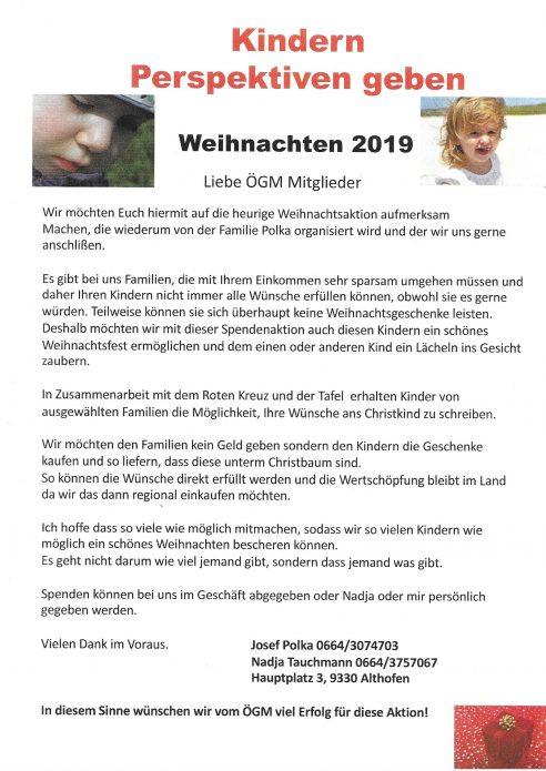 "ÖGM Sozialprojekt 2019 ""Kindern Perspektiven geben"""